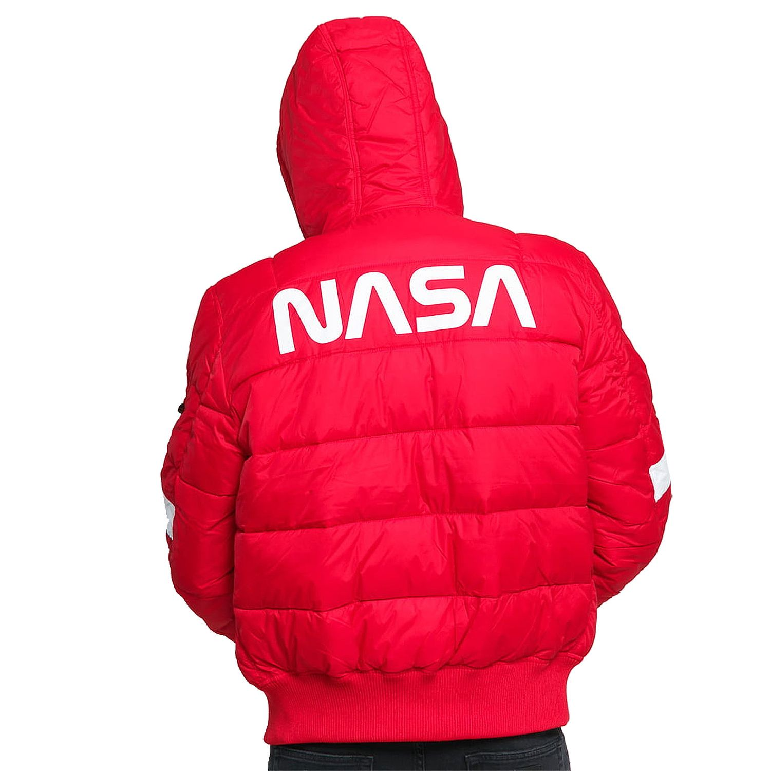 Alpha Industries Herren Hooded Puffer NASA speed red