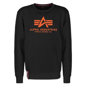 Alpha Industries Herren Basic Sweater black neon orange