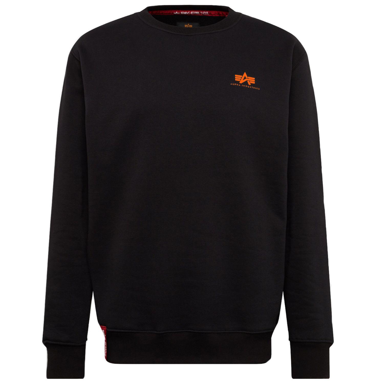 Alpha Industries Herren Basic Sweater Small Logo black neon orange