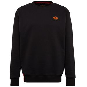 Alpha Industries Herren Basic Sweater Small Logo black neon orange