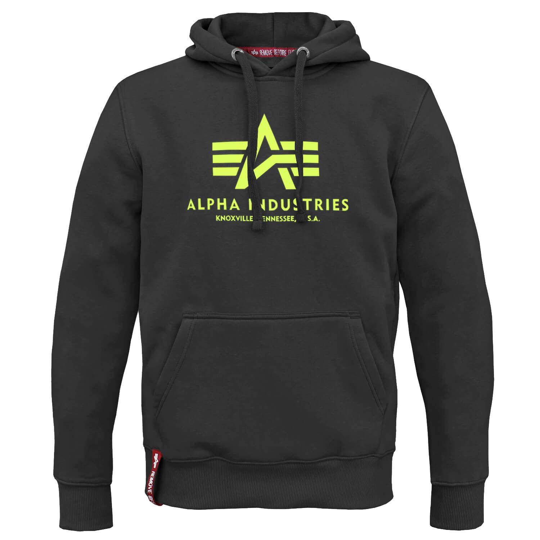 Alpha Industries Herren Basic Hoody schwarz gelb