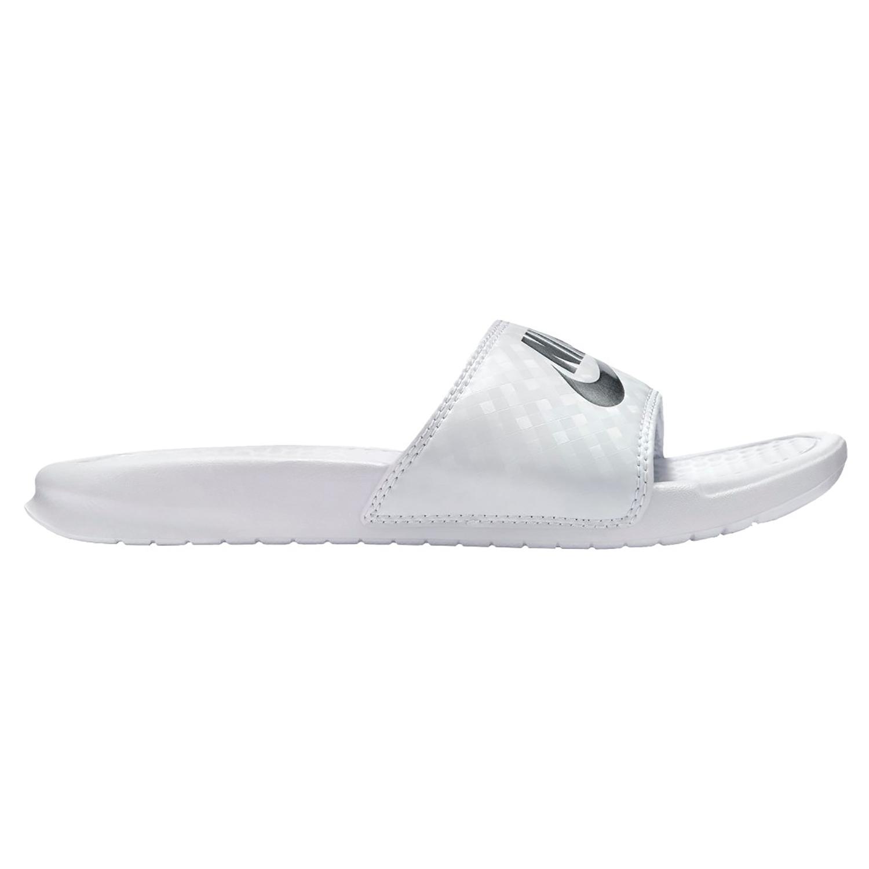 Nike WMNS Benassi JDI  Badeschuhe weiß silber