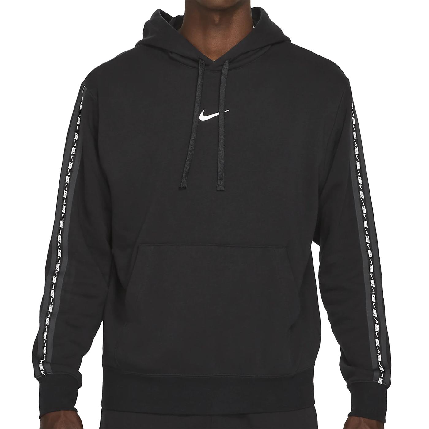 Nike NSW Fleece Hoodie Herren schwarz weiß