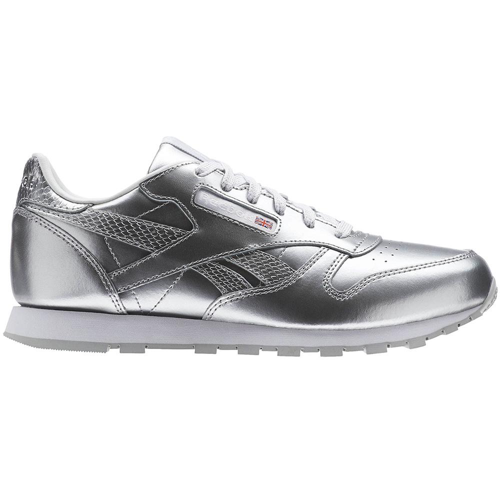 5743fb31193 Reebok Classic Leather Metallic Junior Kinder Sneaker silber